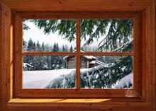 Blokhut-Venster sneeuwlandschap