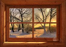Blokhut-Zonnig winterlandschap
