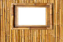 764b-Eigen doorkijk bamboe wand met schilderij