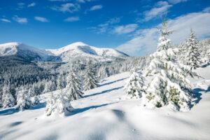 Kerstdorp achtergrond Sneeuwlandschap