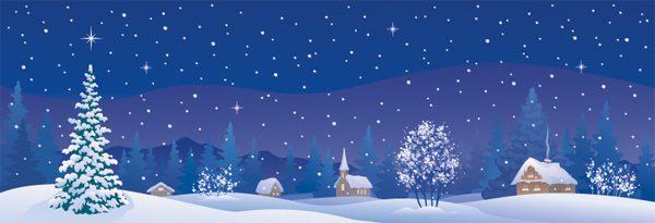 kerstdorp achtergrond winterlandschap getekend