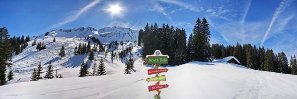 kerstdorp achtergrond noordpool richtingaanwijzer