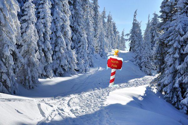 kerstdorp achtergrond richt noordpool