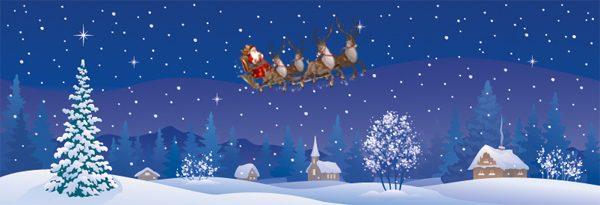 santa's wonderland winterlandschap getekend met kerstman en slee met rendieren en pakketjes
