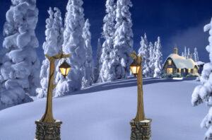 Winterlandschap met boshuisje en lantaarns