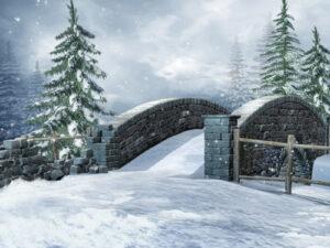 Kerstdorp winterlandschap brug