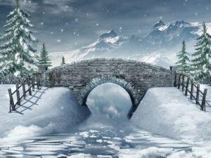 Kerstdorp winterlandschap brug met riviertje