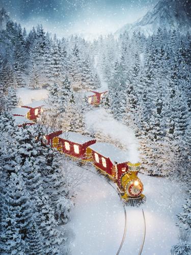 kerstmis trein winterlandschap kerstdorp