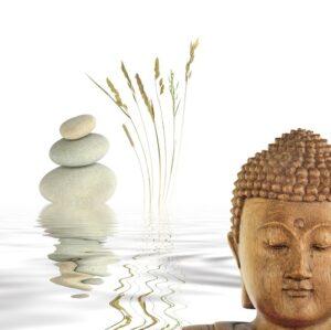 Boeddha wit met stenen
