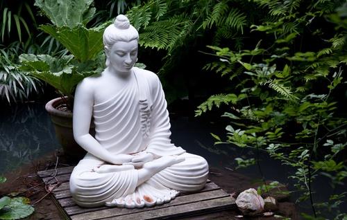 witte boeddha in groen op houten vlot in water