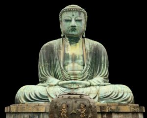 Boeddha metaal zwart