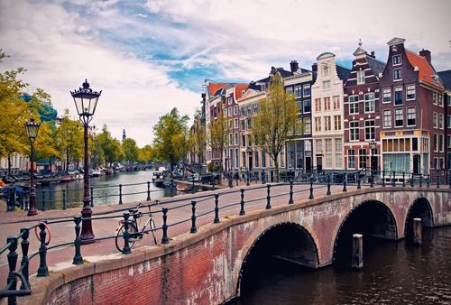 tuinposter Amsterdam gracht en brug