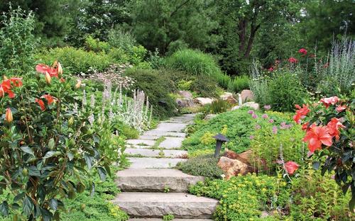 tuinposter bloementuin met pad