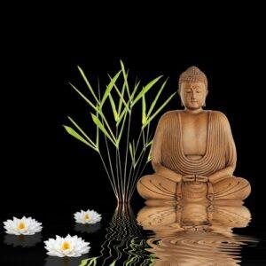 Boeddha zwart met bamboe