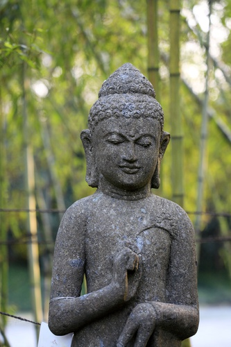 tuindoek Boeddha met bamboe