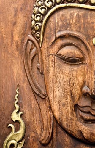 Boeddha hout tuinposter