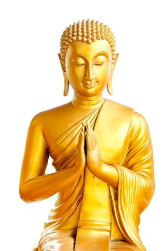 tuinidee Boeddha goud met achtergrond