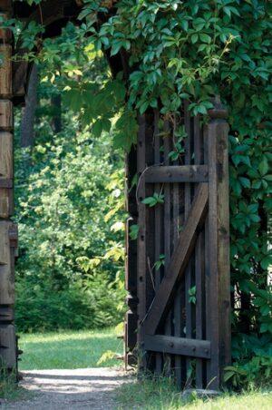 open houten poort