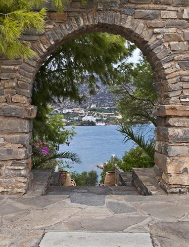 tuinposter doorkijk Grieks landschap