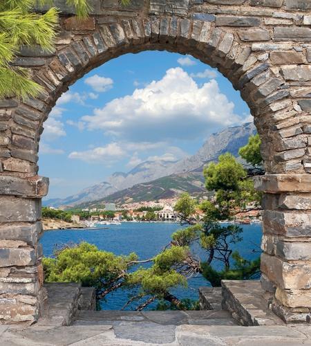 4127_tuinposter_DOORKIJKJE Dalmatie Grieks stenen venster zee
