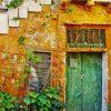 tuindoek griekenland oude groene deur