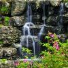 terrasposter met waterval en rotstuin