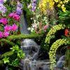 tuindoek met-waterval bloemen