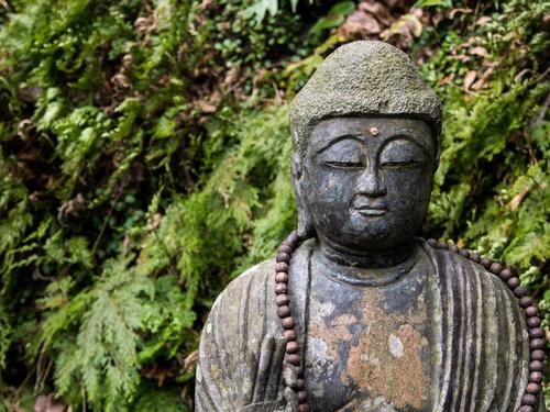 tuindoek boeddha in bos