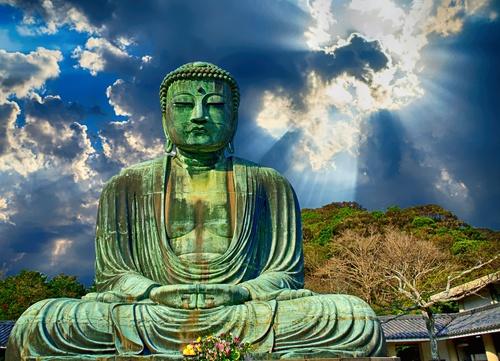 tuindoek groene boeddha blauwe lucht