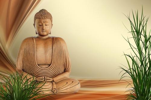 tuindoek boeddha met palm