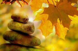 Relax stenen en herfstbladeren
