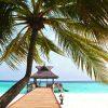 tuindoek tropisch strand met steiger