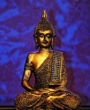 Boeddha blauwe achtergrond