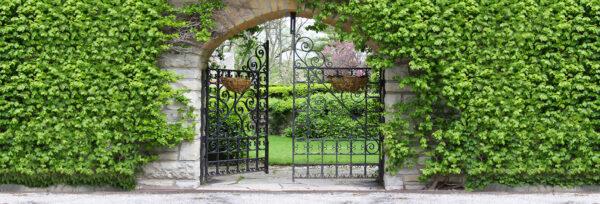 tuinposter super groot ijzeren poort panorama