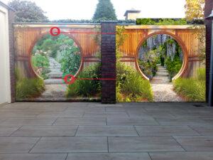 Tuinposter 184x218 cm gat in schutting gespiegeld, blauwe regen, cirkel hetzelfde als bij vorige poster