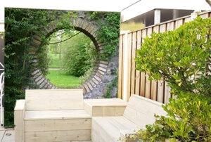 Tuinposter 194x246 cm, omgezoomd, met ringen, incl. 20 st. RVS ringen/schroeven en afwerkingsstuk
