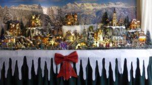 kerstdorp met winterlandschap achtergrond