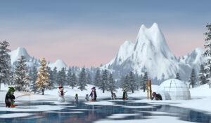 Pinguins in je kerstdorp - 65x120 cm - sticker
