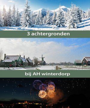 Winterdorp AH achtergronden (3 stuks)
