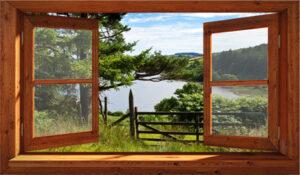 Tuinschilderij doorkijk openslaand raam 70x120 cm