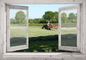 Tuinposter 90x130 cm wit venster met eigen foto en tunnels