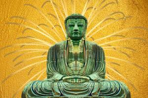 Boeddha goud met stralen