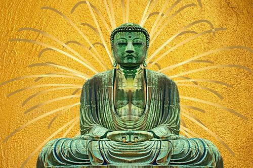 tuindoek Boeddha goud met stralen
