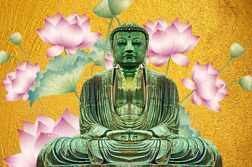 tuindoek Boeddha goud met bloemen
