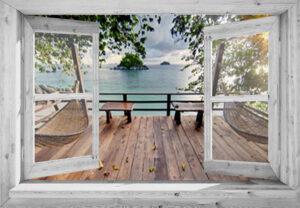 95x130 cm Openslaand wit venster: Thaïs vlonderterras
