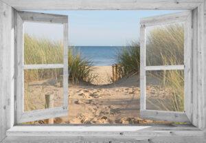 Openslaand wit venster: Duinovergang