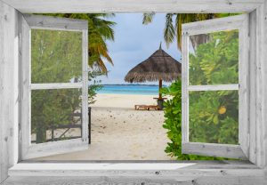 95x130 cm Openslaand wit venster: tropisch strand