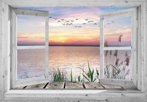 95x130 cm Openslaand wit venster: zonsondergang