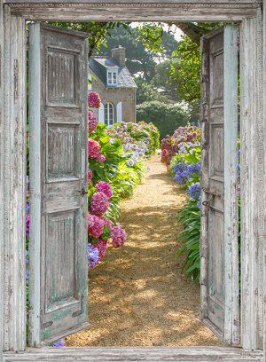 Openslaande deuren: hortensia tuin