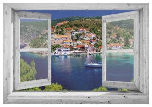 95x130 cm Openslaand wit venster: Griekse baai